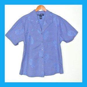 Susan Graver Style  Blue Embroidered Shirt 2X